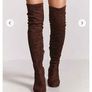 Faux suede chocolate brown thigh high boots 7.5